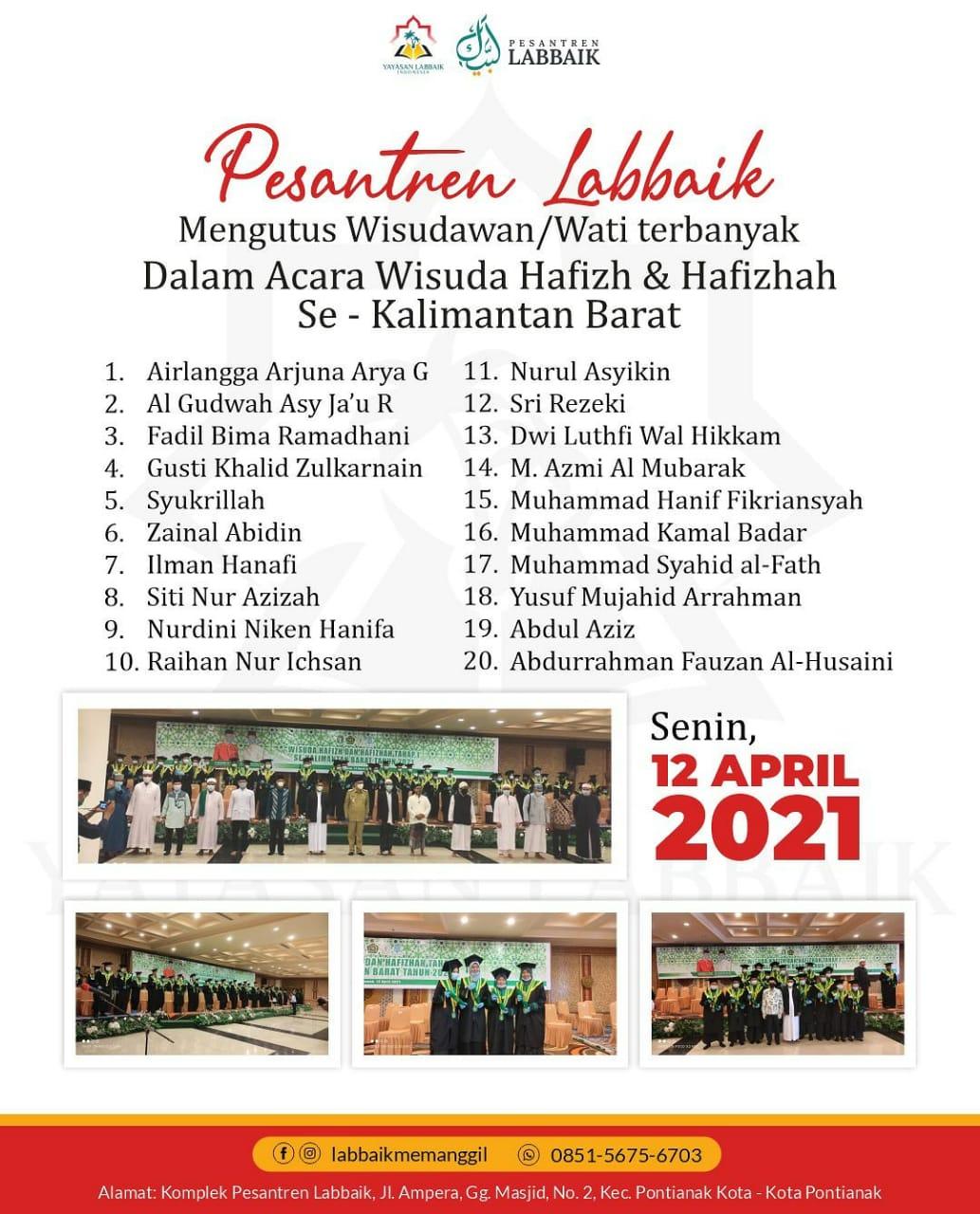 Rekor Wisuda Hafizh/ah 30 Juz Terbanyak Kalbar tahap I tahun 2021 dari pesantren Labbaik - Gubernur Bahagia